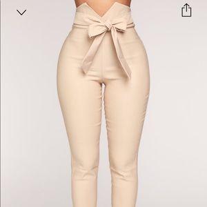 Khaki Knot your girl Pants from Fashion Nova